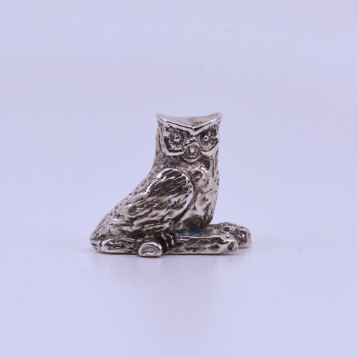 Vintage Sterling Silver Owl Paperweight Figure, Hallmarked Collette 925