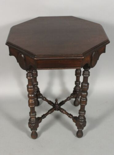 1920's Antique Spanish Revival Hexagonal Carved Walnut Side Table (11661)