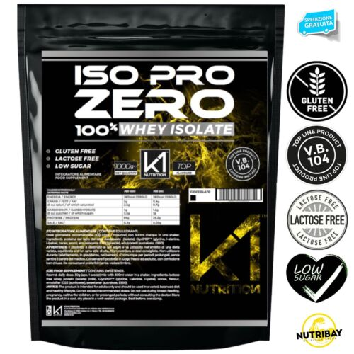 K1 Nutrition ISO PRO ZERO 1 Kg Proteine 100% Whey Isolate con Vb104 <br/> GLUTEN FREE , SENZA LATTOSIO , LOW SUGAR , VB104