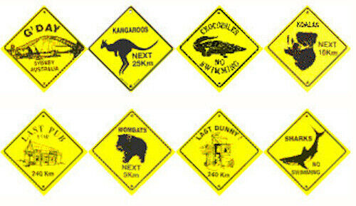 5 ASSORTED ROAD SIGN SOUVENIR STICKERS
