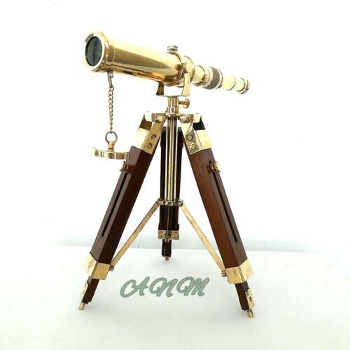 Brass Telescope With Tripod Stand Vintage Marine
