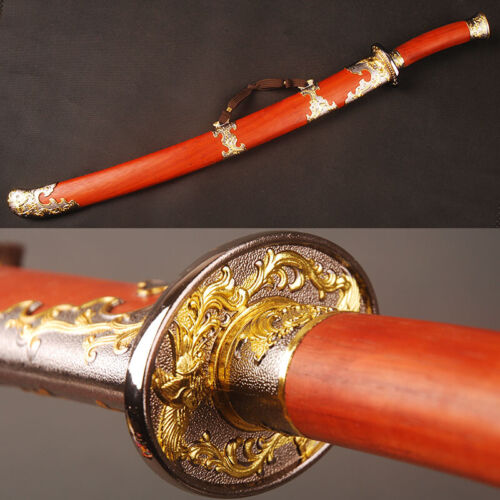 Chinese Sword Ox-Tailed Dao Phoenix Qing Dynasty  Folded Steel Red Wood Handle