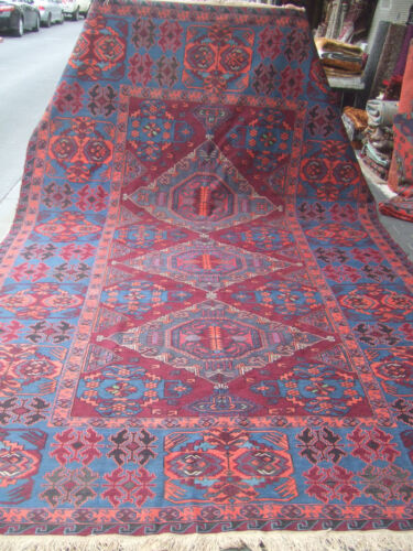 ORIGINAL ANTIQUE CAUCASIAN WOOL CARPET RUG SUMAC HAND WOVEN 400x240-cm