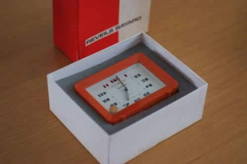 Vintage Rayard Alarm Clock - Mid Century Design, Orange, Made in Fance, As New