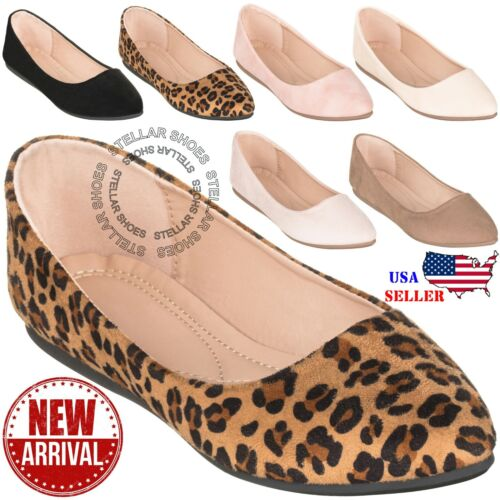 NEW Women's Classic Pointy Toe Ballet Flat Slip On Comfortable Flat Shoes