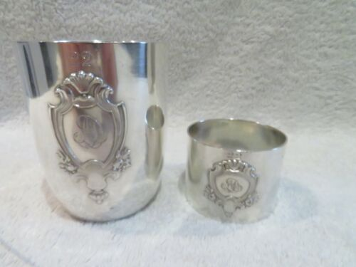 1900 french silver 950 (minerve) baby cup & napkin ring empire st