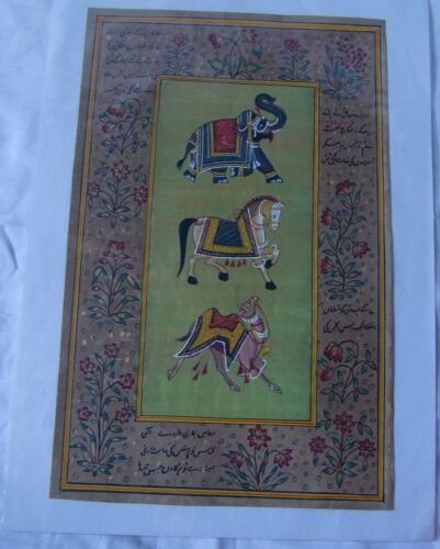 Elephant camel horse painting stone color miniature wall hanging rice paper art