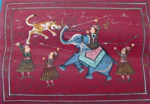 VINTAGE INDIAN WATER COLOR HAND MADE PAINTING OF TIGER HUNTING WITH ELEPHANT