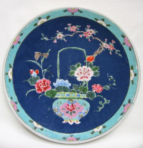 Antique Famille Rose Dish Depicting Flowers on Blue Ground