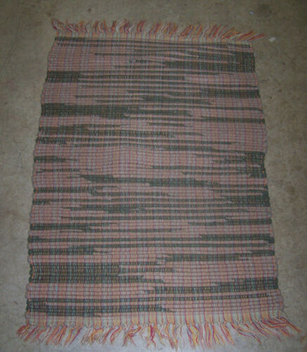 """Vintage Hand Woven Rag Rug #15 - Brown & Rose / Pinks about 23"""" x 33"""""""