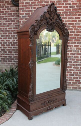 Antique French Wardrobe Armoire Cabinet Closet Bookcase Walnut Rococo Mirrored