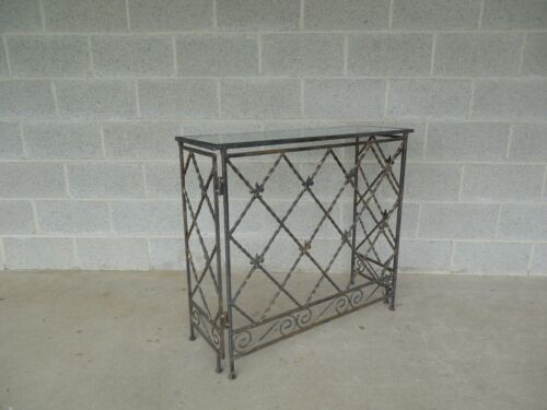 "Designer French Style Heavy Wrought Iron Glass Top Console 35""W x 12""D"
