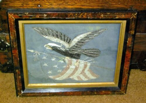 1870's Framed Cloth Patriotic US Eagle & Flag 12x9 ½ Inches