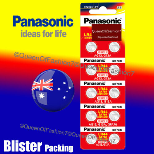 10 x LR44 Genuine Panasonic 0%Hg 1.5V Battery A76/AG13 Alkaline Batteries