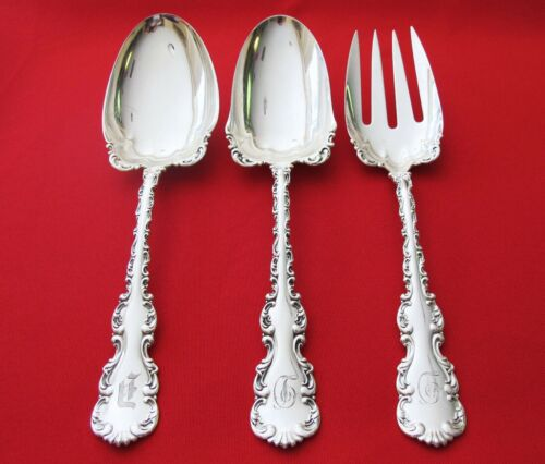 """Louis XV S. Silver Whiting 3 Pc. Serving Fork and Spoon""Age 1891 HJ Howe (#70)"