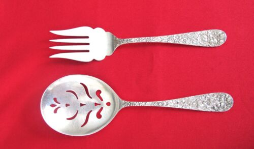 STIEFF Rose Sterling Silver pierced Spoon and Fork Serving Pieces (#1077)