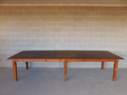 "Antique Barn Wood Shaker Style Farm Dining Table 129.5""L"