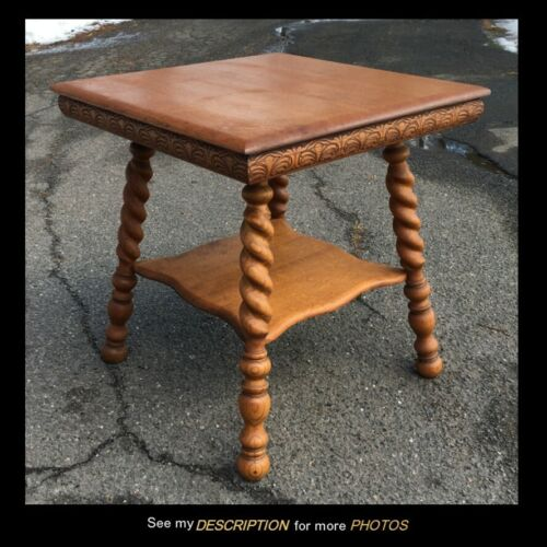 Antique Turn of the Century Large solid Oak Lamp TABLE twist leg carved apron