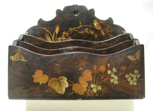Antique English Lacquered Papier Mache Letter Holder