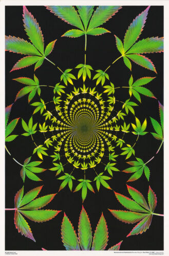POSTER: MARIJUANA THEME : PSYCHEDELIC:  SPIRAL LEAF     #F3309S  RP65 R