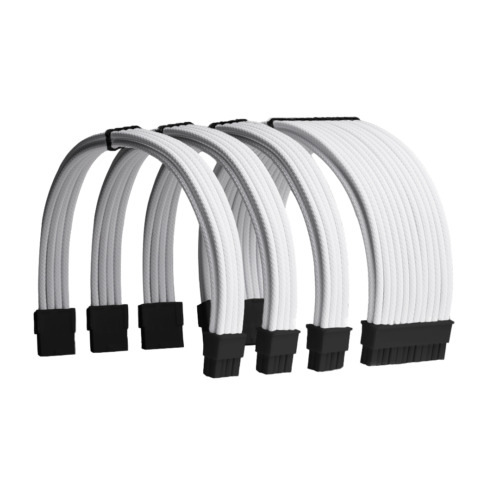 White Custom Sleeved PC Extensions Cable Basic Kit PSU Power