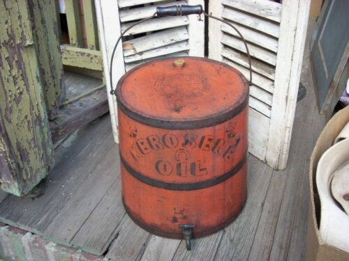 Antique Primitive KEROSENE OIL Painted Bucket Firkin IMPERVIOUS Oil Can KEENE,NH