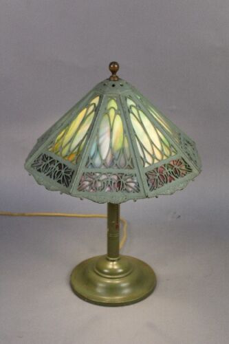 Antique Spanish Revival Bradley and Hubbard Signed Table Lamp Circa 1910 (11754)