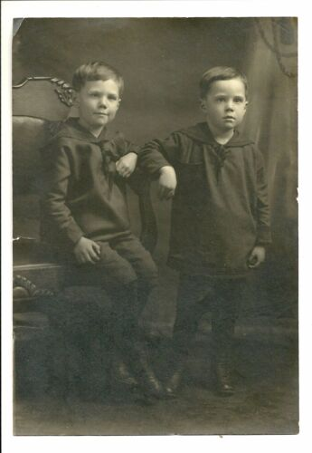 BROTHERS Tintype Boys SAILOR Dressed Child Portrait Photograph Old Antique 1800s