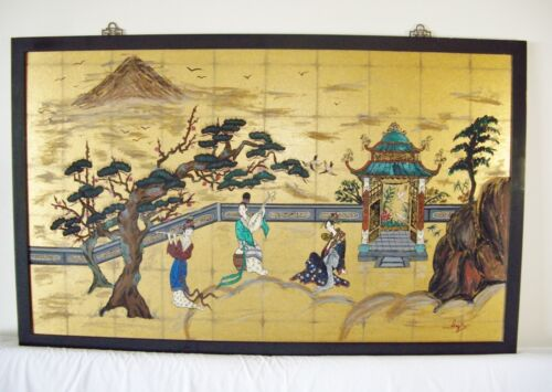Large Chinese Garden Painting, Musical, Signed Lyn, Vintage/LOCAL PICKUP ONLY
