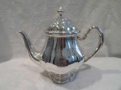 early 20th c french sterling silver large tea pot G Keller Louis XIV st