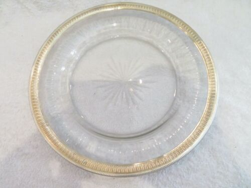 Gorgeous 1900 french crystal & sterling gilded silver round platter empire st