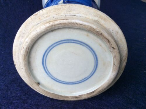 Chinese Qing Dynasty Kang Xi Year Phoenix Drawing Blue White Porcelain Vase