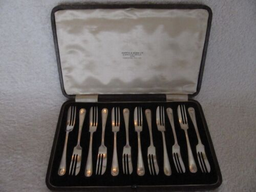 "english silverplate set of 12 pastry forks ""zig zag"" art deco  Mappin & Webb"