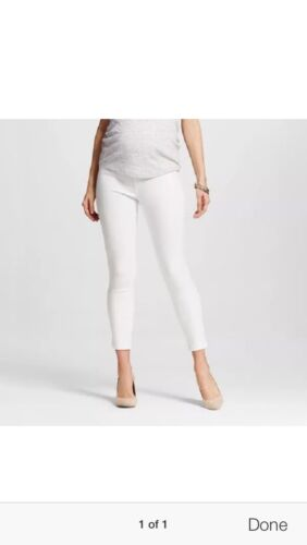 a14f899e29c1a Liz Lange Maternity White Jeans Denim Pants Over Belly Ankle Skinny Size XXL