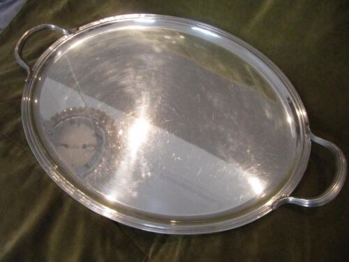 Vintage french silverplate large oval serving tray Christofle Albi filet pattern