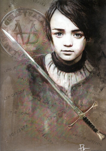 Game Of Thrones ARYA STARK Print HAND SIGNED by ROB PRIOR