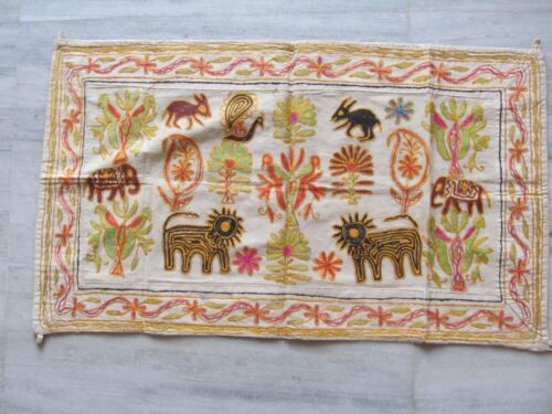 VINTAGE INDIAN TRIBAL HANDMADE WALL DECOR ETHNIC PATCH EMBROIDERY TAPESTRY #04