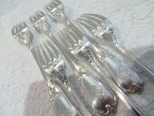 early 20th c french sterling silver 6 dessert LXV forks rococo st 233g 8,2oz