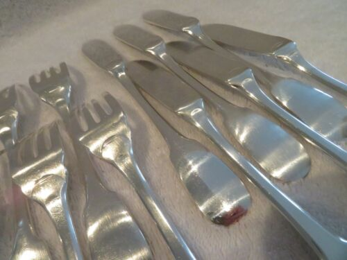 French silverplate 6 fish forks 6 knives 12p Christofle Cluny pattern o55