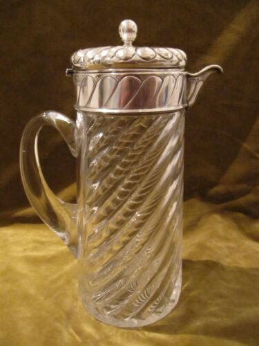 Victorian twisted crystal & sterling silver large claret jug London 1889