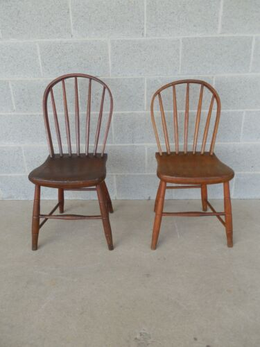 Pair Antique Windsor Style Hoop Back Side Chairs