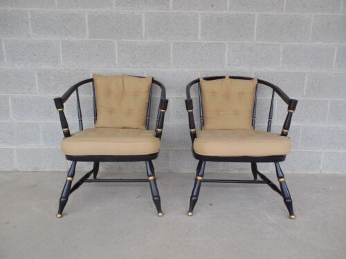 Rousseau Bros. Barrel Back Spindle Black Painted Club Chairs-Pair