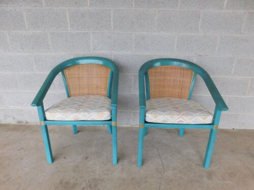 Vintage Hollywood Regency James Mont Style Barrel Back Club Chairs - a Pair