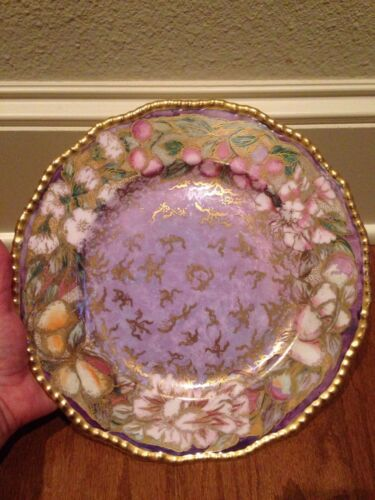 Royal Doulton Hand Painted Signed Cabinet Plate Florals/Fruit/Tons of Gold 1929