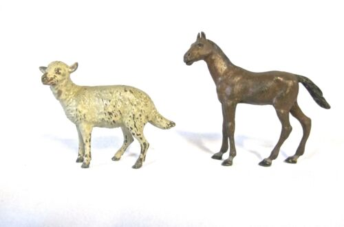 Antique set of 2 Vienna Bronze Horse and Sheep (#909)
