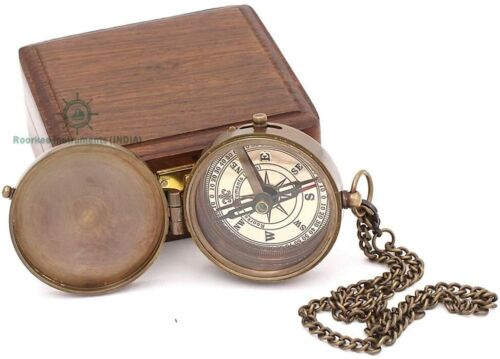 Engravable Compass, Pocket Compass, Brass Compass with Stamped Nubuck Leather