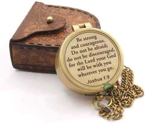 Compass with Scripture Joshua 1:9 is Engraved,Engraved Compass, Confirmation