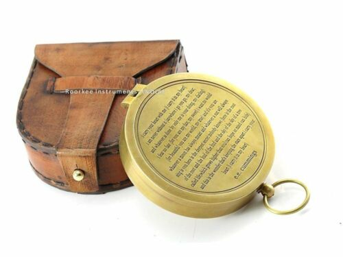 Valentines Gift idea Vintage Brass Compass with Handmade Leather Case/E.E.