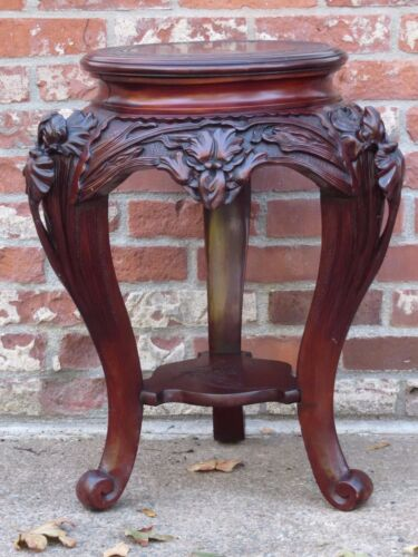 Antique Asian Rosewood Carved Plant Stand Lamp Table
