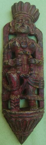 VINTAGE HAND CARVED WALL HANGING WOODEN INDIAN BEAUTIFUL LADY STATUE FIGURINE